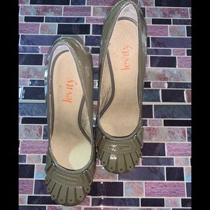 Levity brand taupe color patent leather heels.
